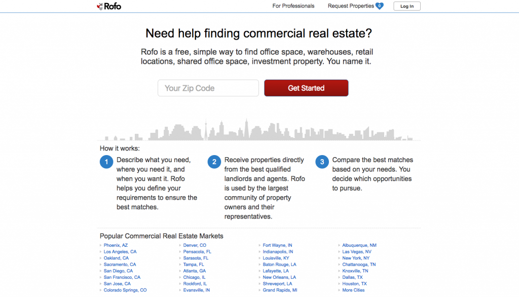 The ultimate guide to commercial real estate listing sites sharplaunch rofo offers a zip code based search tool for office space warehouses retail locations investment properties and shared office space fandeluxe Choice Image