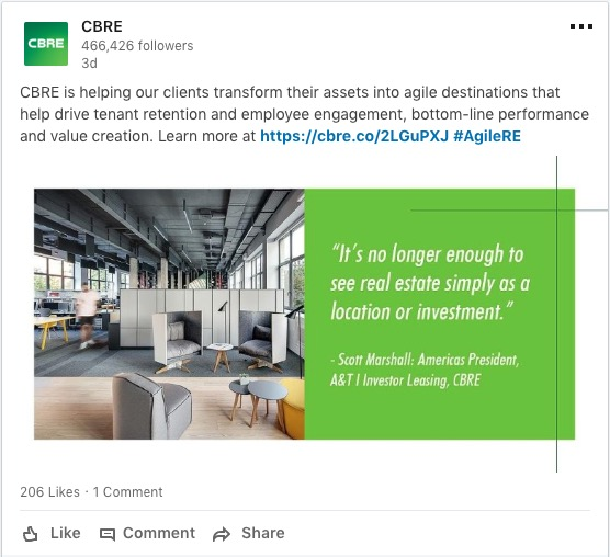 social media marketing CBRE