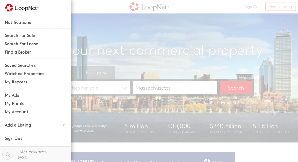 LoopNet Account page