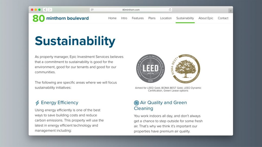 Sustainability building certification commercial real estate website