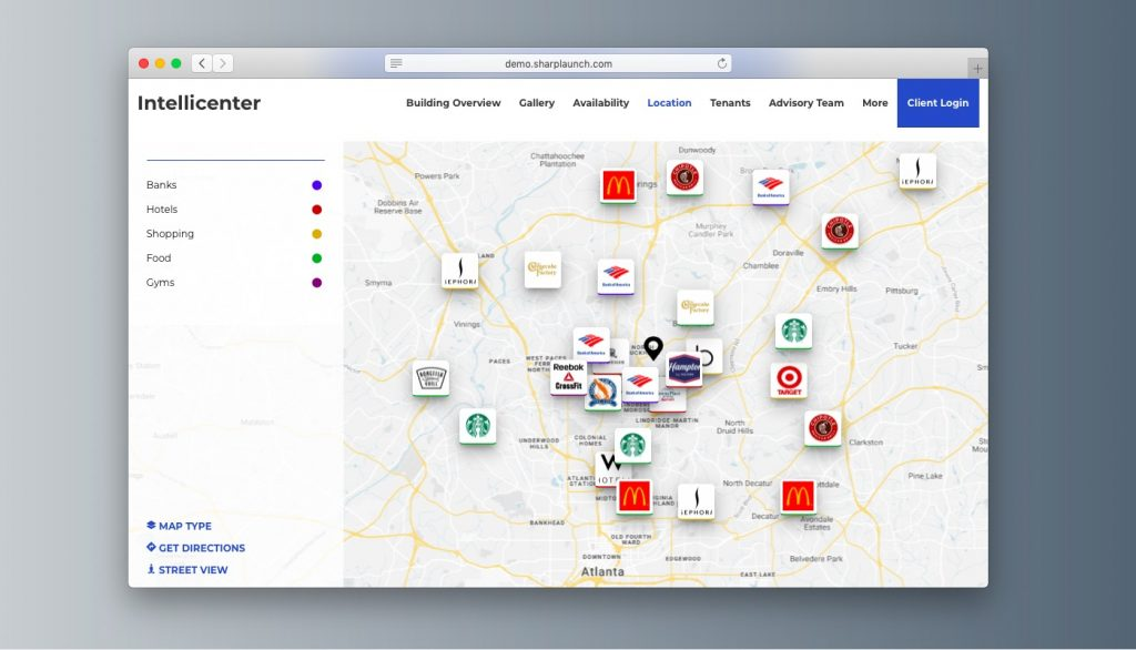 Interactive commercial real estate maps
