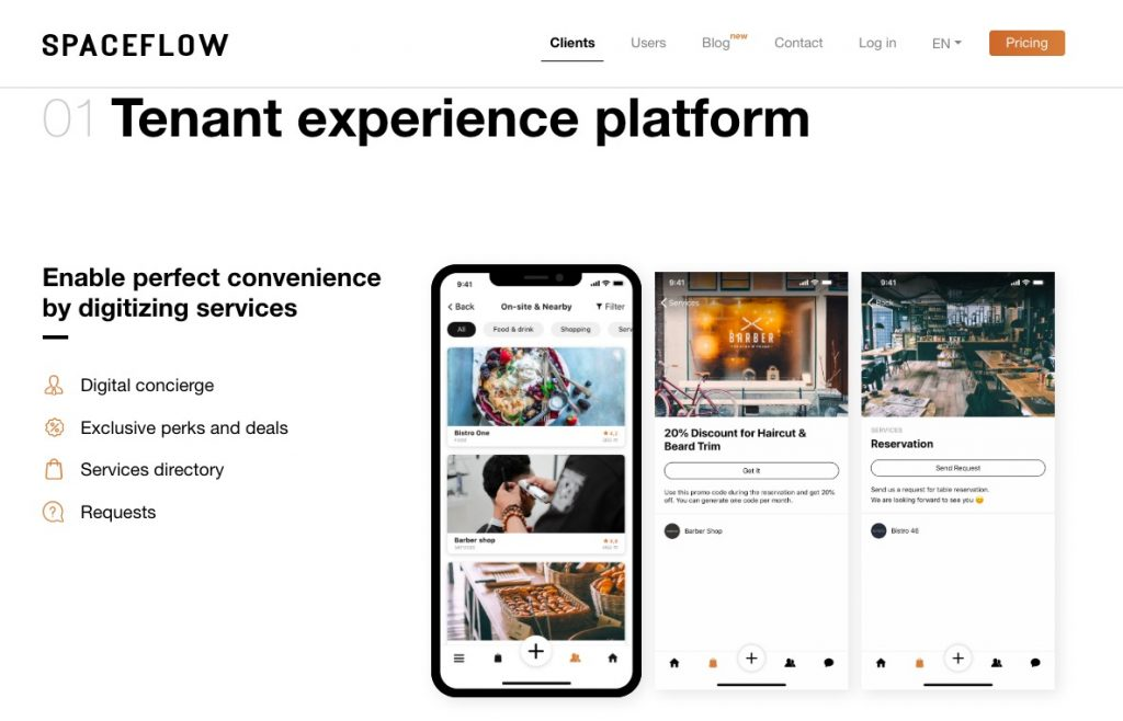 Spaceflow commercial real estate tenant experience app