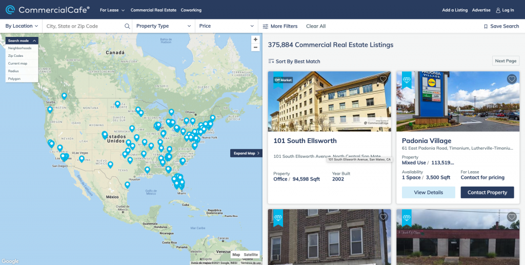 Commercial Cafe Commercial Real Estate Listing Site