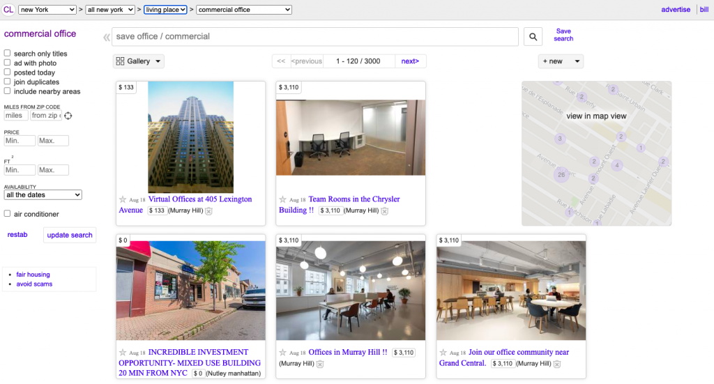 Craiglist Commercial Real Estate Listing Site