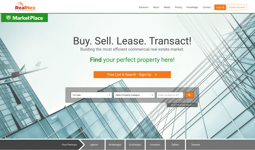 RealNex MarketPlace Commercial Real Estate Listing Site