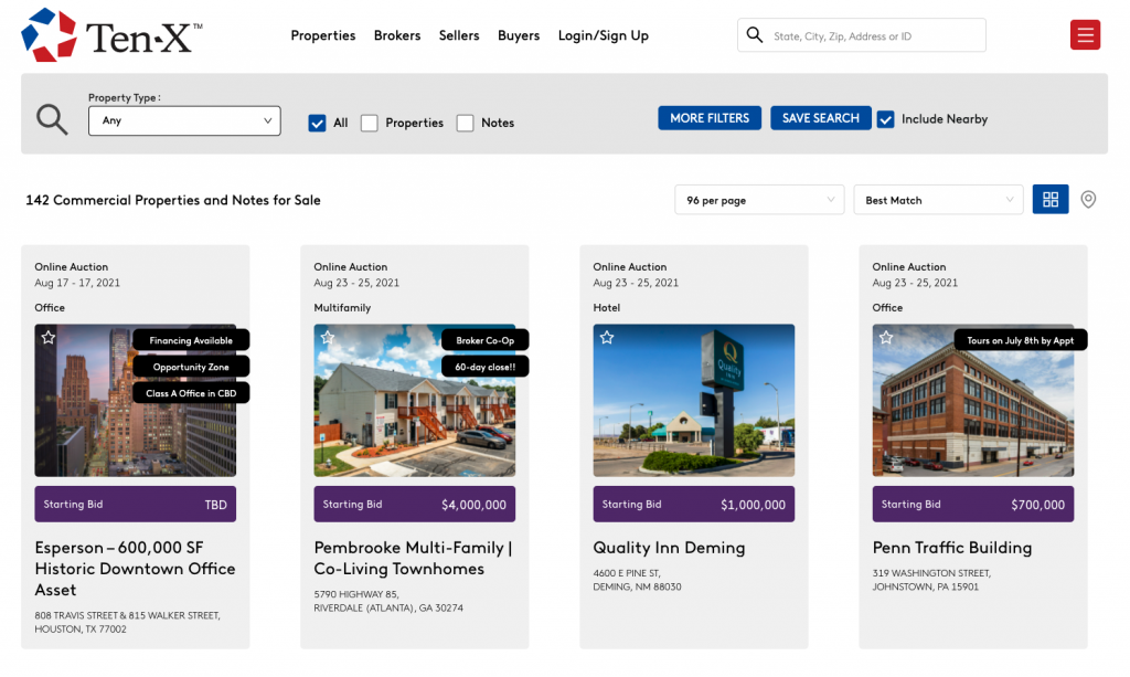 Ten-X Commercial Real Estate Listing Site